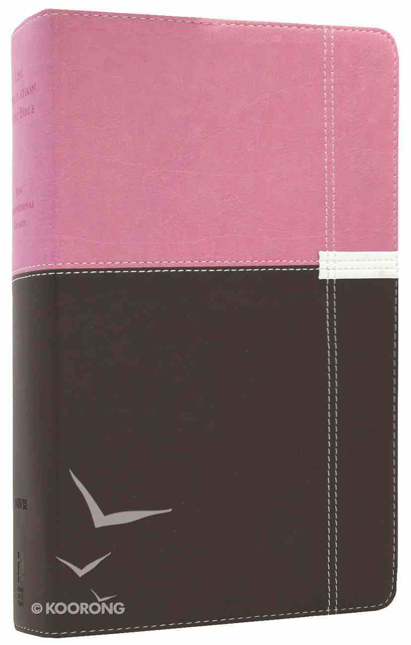 NIV Life Application Study Bible Personal Size Orchid/Chocolate (Red Letter Edition) Premium Imitation Leather
