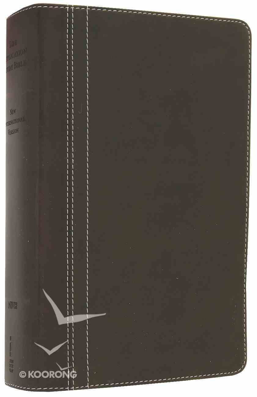 NIV Life Application Study Bible Personal Size Bark/Dark Moss (Red Letter Edition) Premium Imitation Leather