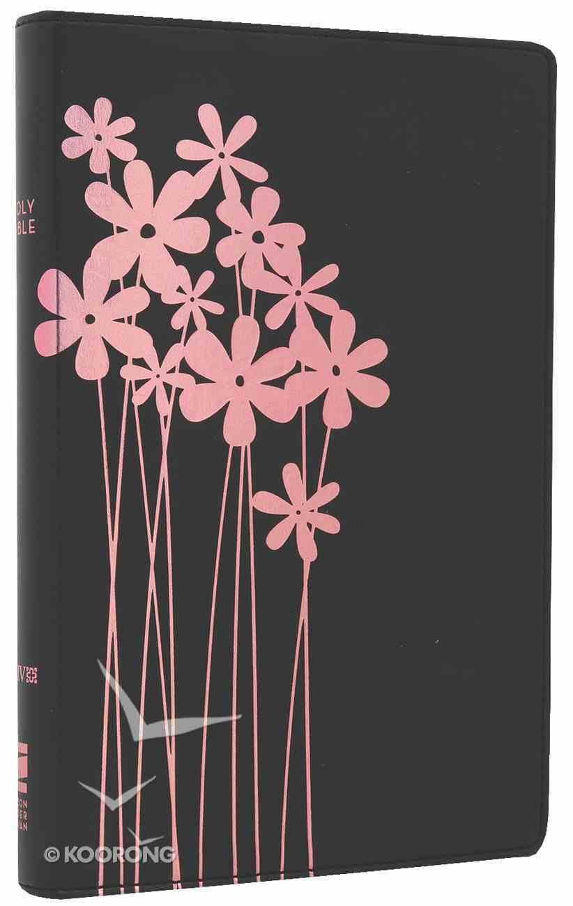 NIV Thinline Bible Flora and Fauna Forget-Me-Knots Black/Pink (Red Letter Edition) Imitation Leather