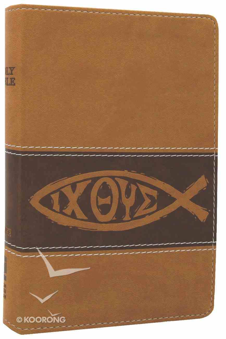 NIV Backpack Bible Toffee With Fish (Red Letter Edition) Imitation Leather
