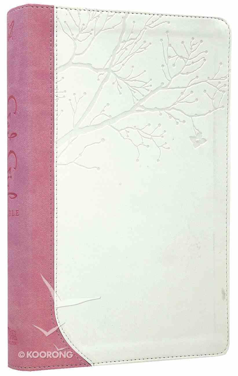 God's Word God Girl Bible Snow White/Pretty Pink Tree Design Imitation Leather