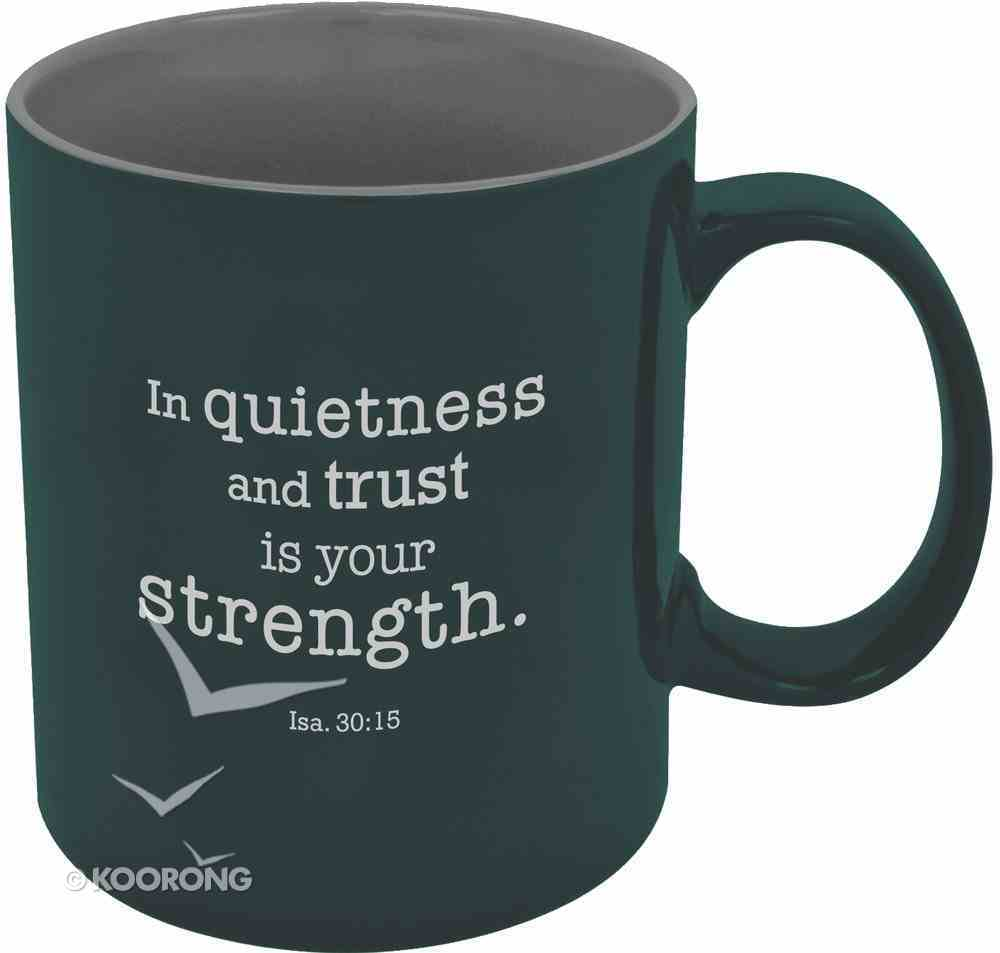 Stoneware Mug: In Quietness and Trust is Your Strength, Eagle Blue Homeware