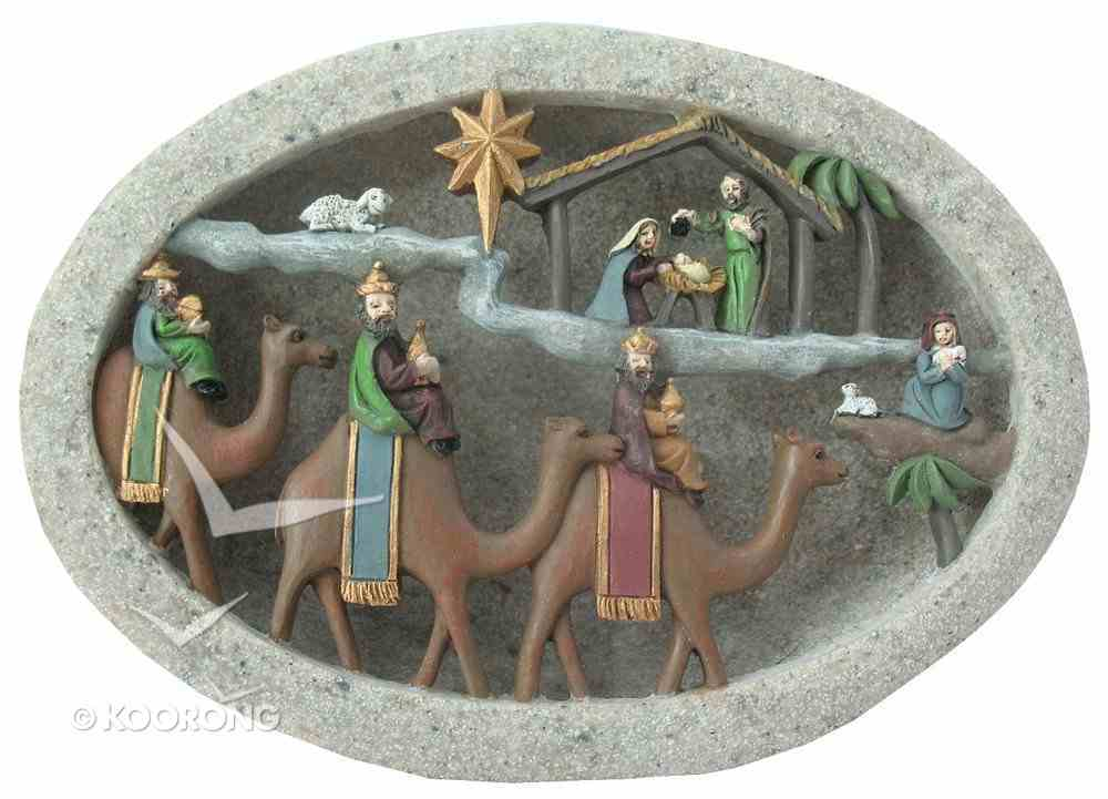 Nativity Plaque With Camels and Led Light (Batteries Included) Homeware