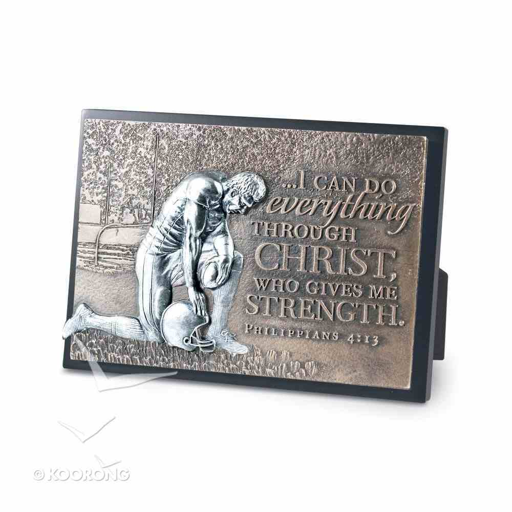 Small Moments of Faith Plaque: Football, I Can Do All Things, Philippians 4:13 Plaque