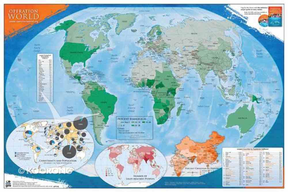Operation World Prayer Wall Map (Uv Coated) Chart/card