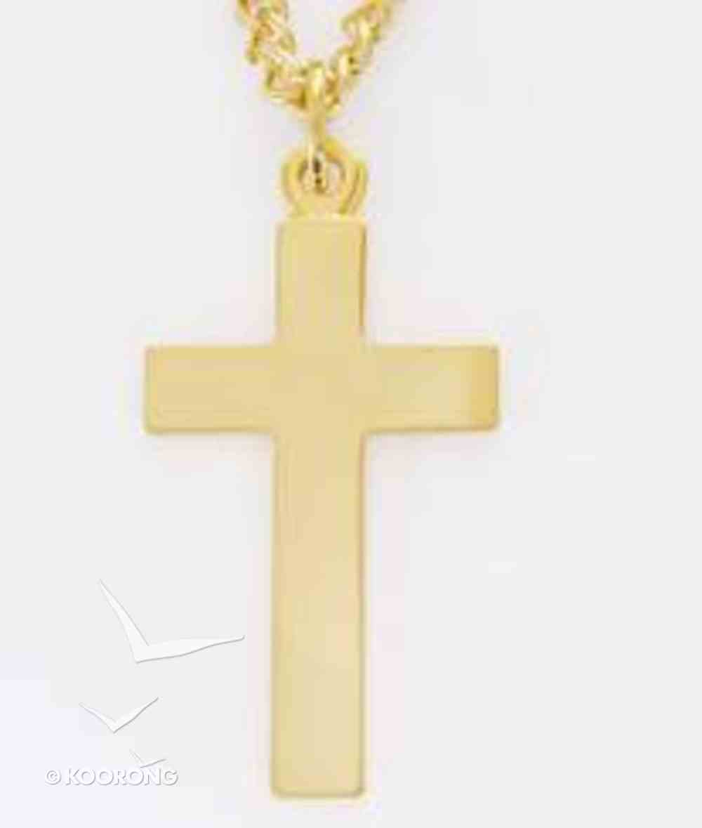 Pendant: Cross Large Flat (Gold Plated) Jewellery