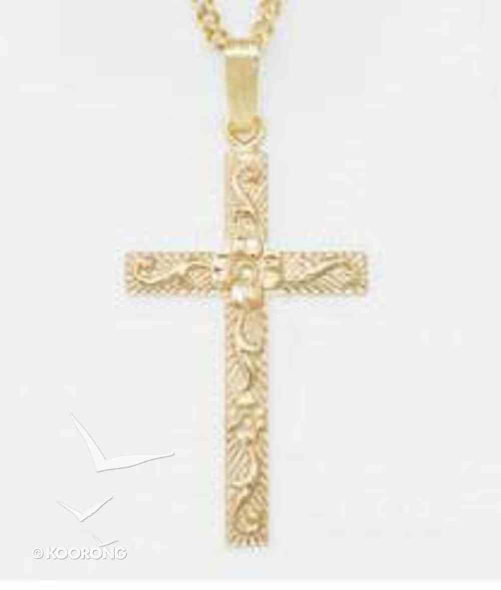 Pendant: Cross Sculpted Floral Large (Gold Plated Sterling Silver) Jewellery