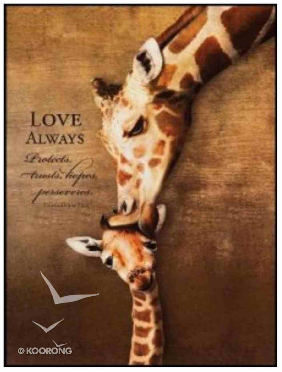 Mounted Print: Giraffe, Love Always Protects, 1 Corinthians 13:7, on Mdf Board Plaque