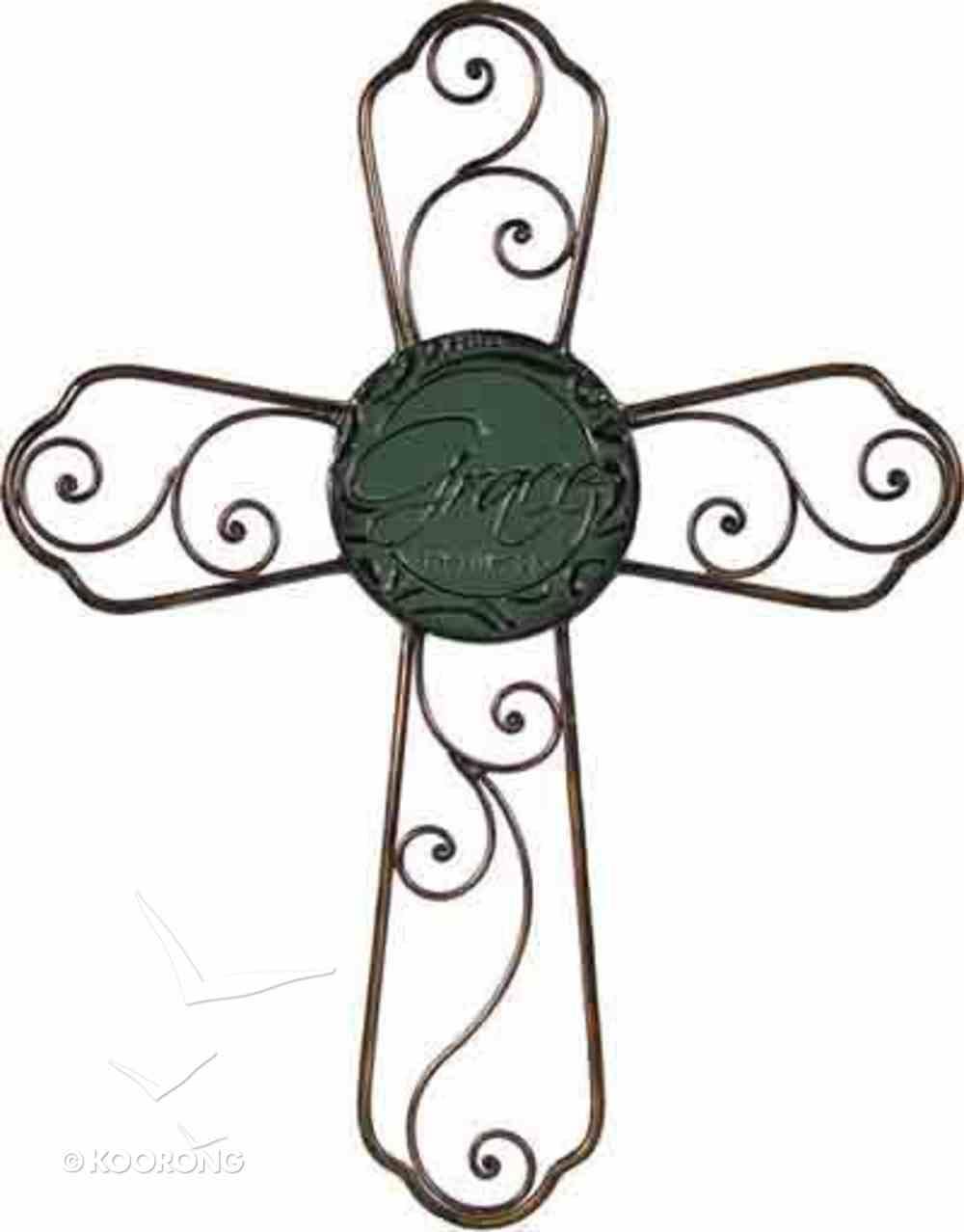 Metal Color Glaze Cross: Grace, Ephesians 2:8 Plaque