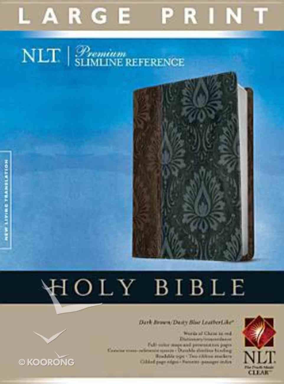 NLT Premium Slimline Reference Bible Large Print Dark Brown/Dusty Blue (Red Letter Edition) Imitation Leather