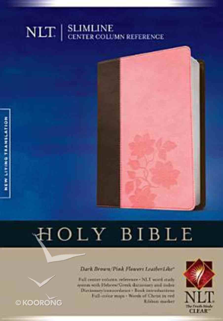 NLT Slimline Center Column Reference Bible Indexed Dark Brown/Pink Flowers (Red Letter Edition) Imitation Leather