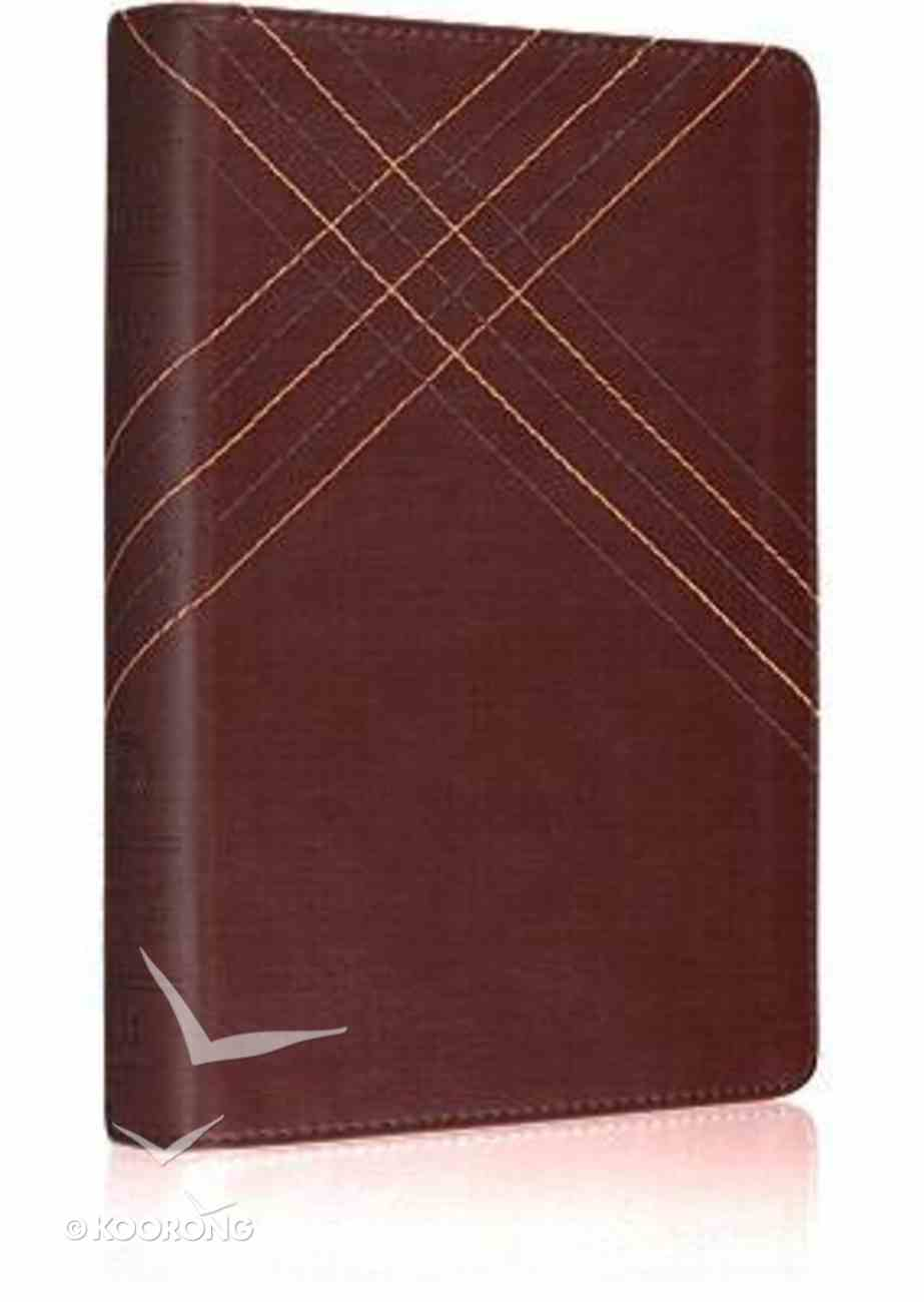 ESV Personal Size Reference Bible Brown Crossweave Design Imitation Leather