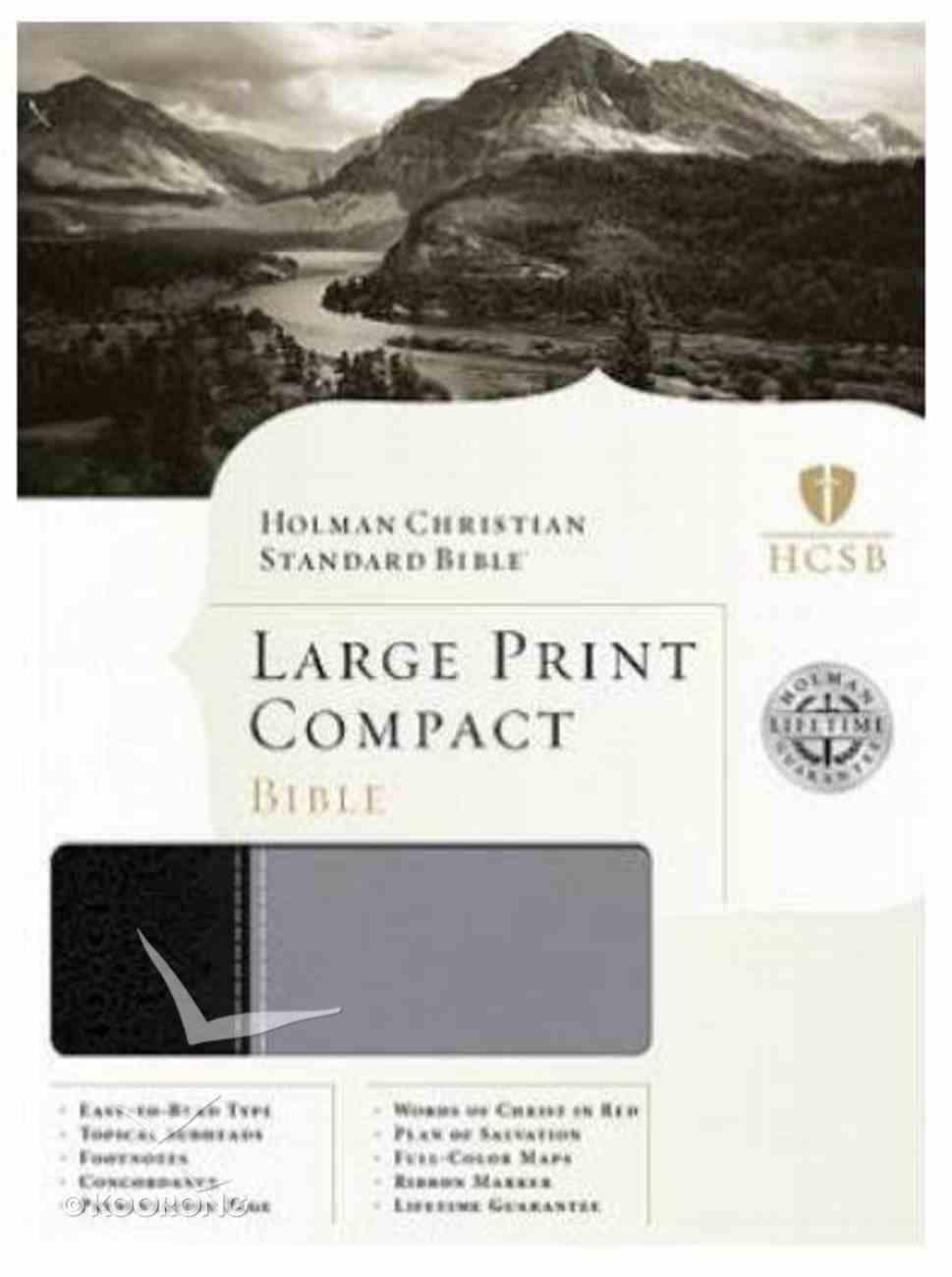 HCSB Large Print Compact Black and Grey Imitation Leather