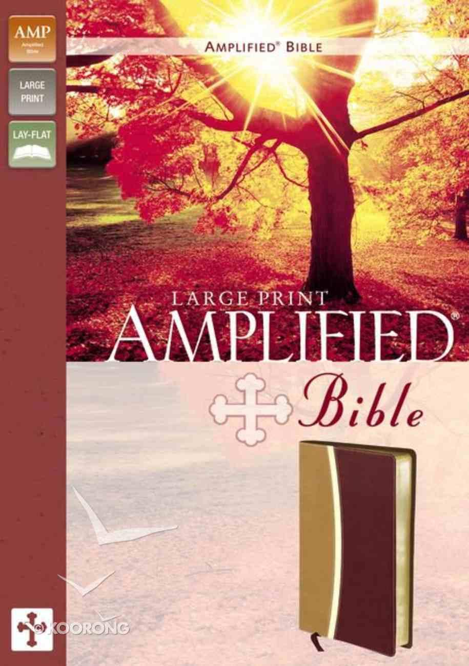 Amplified Bible Large Print Camel/Burgundy Imitation Leather