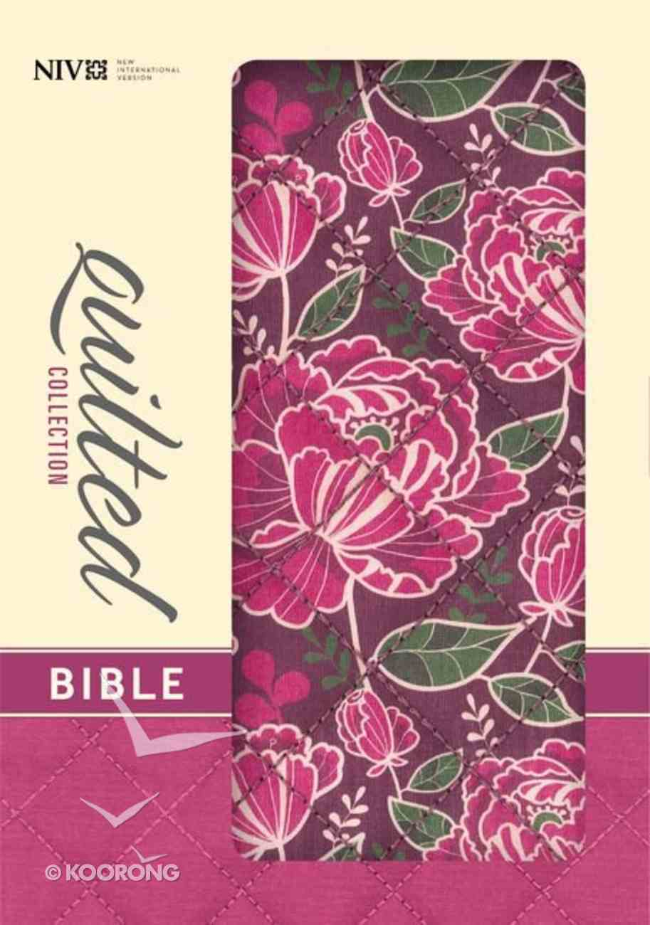 NIV Compact Thinline Bible Quilted Burgundy Floral (Red Letter Edition) Fabric