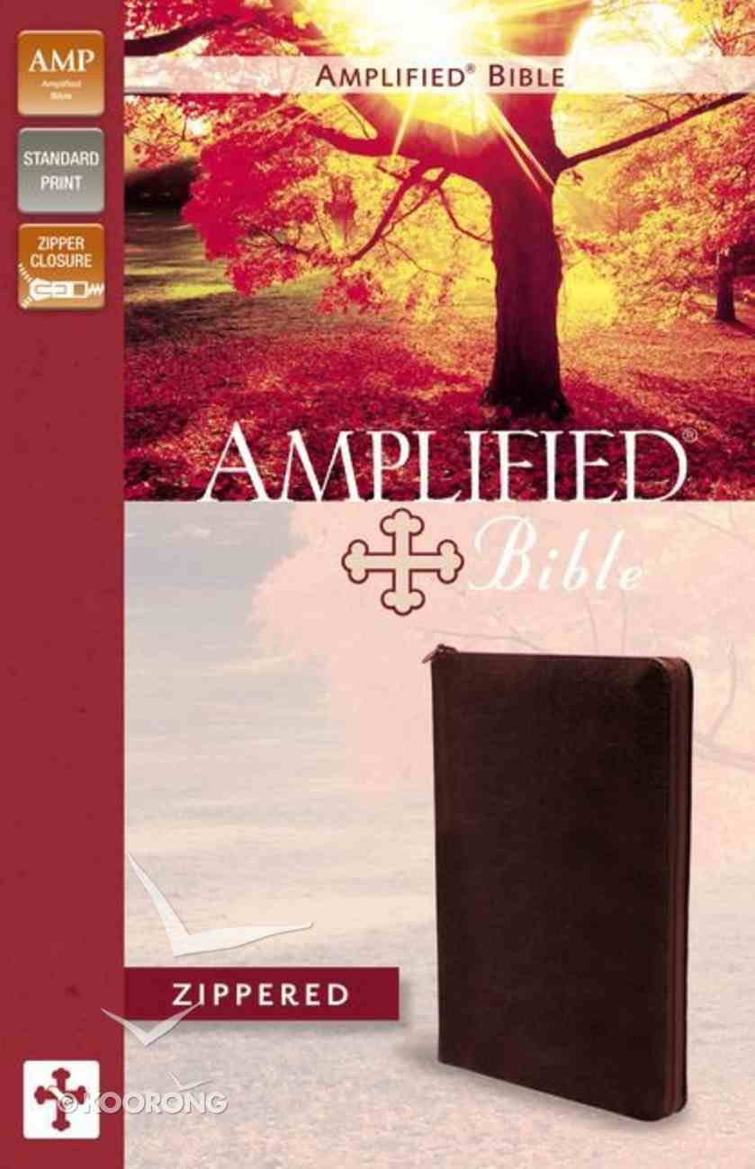 Amplified Zippered Collection Bible Burgundy Bonded Leather