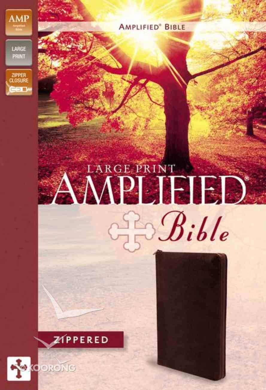 Amplified Large Print Zippered Collection Bible Burgundy Bonded Leather