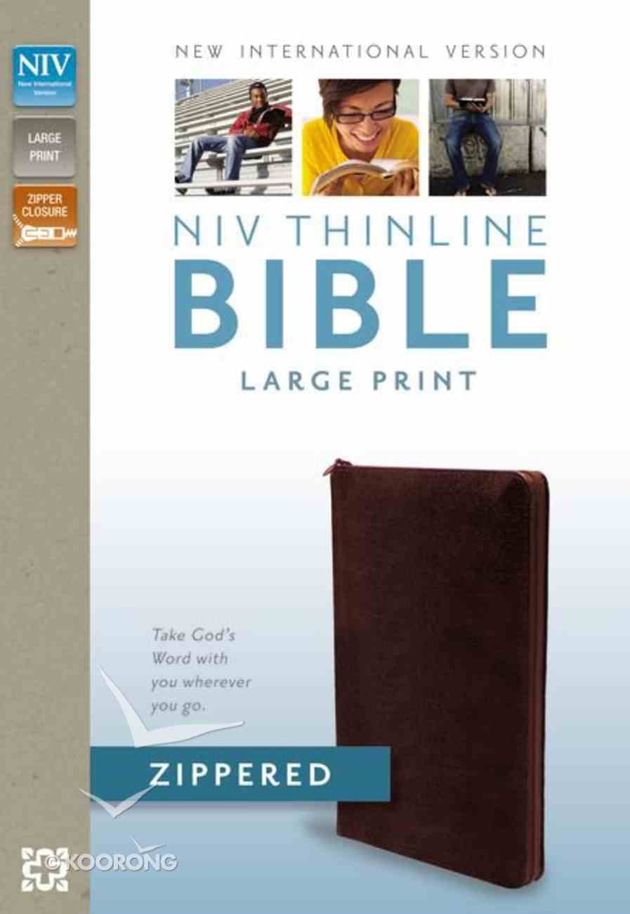 NIV Large Print Thinline Zippered Collection Bible Burgundy (Red Letter Edition) Bonded Leather