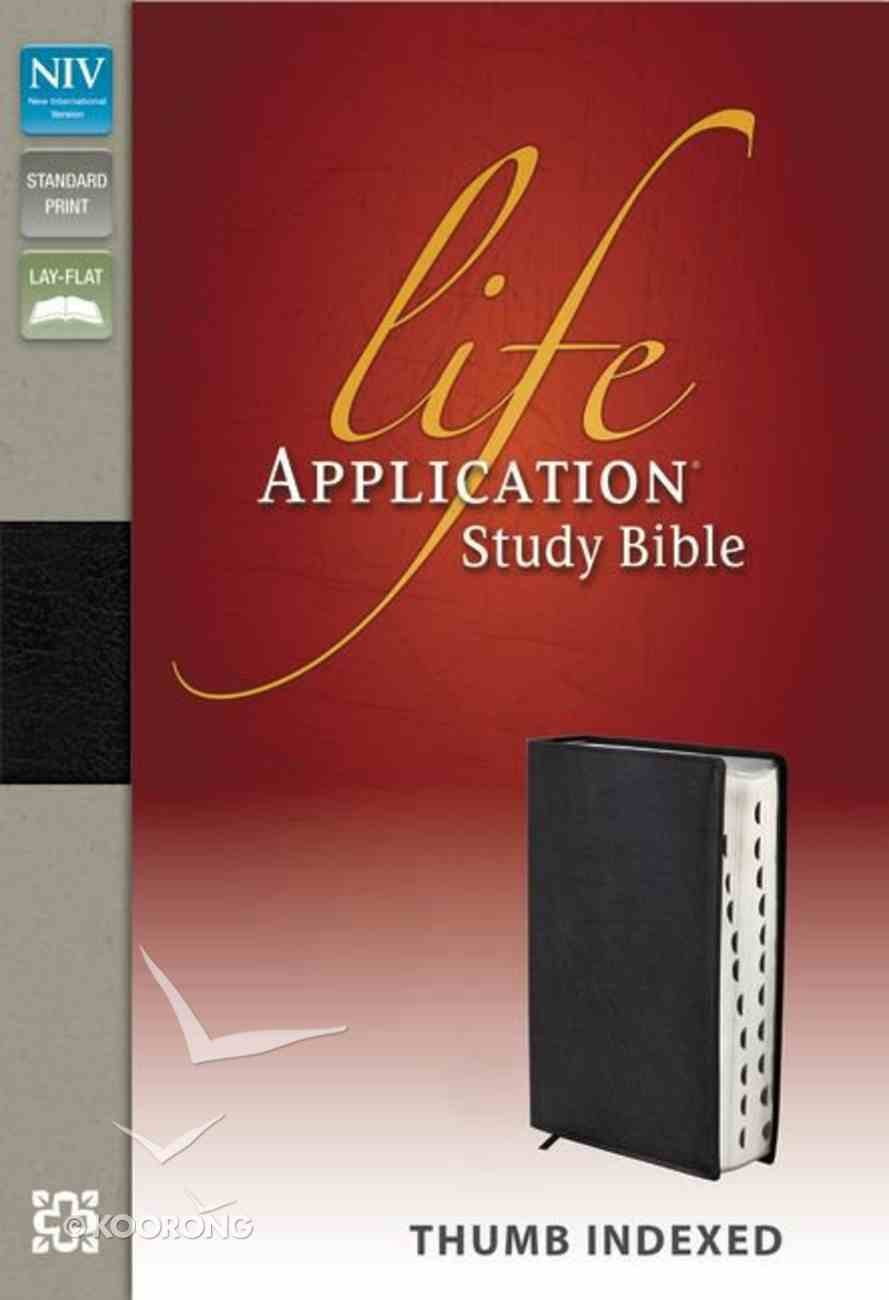 NIV Life Application Study Black Indexed (Red Letter Edition) Genuine Leather