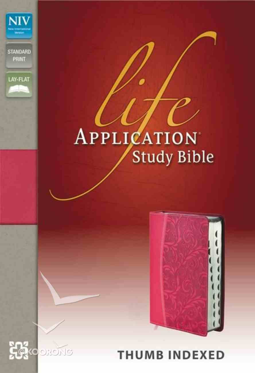 NIV Life Application Study Bible Honeysuckle Pink Indexed (Red Letter Edition) Premium Imitation Leather