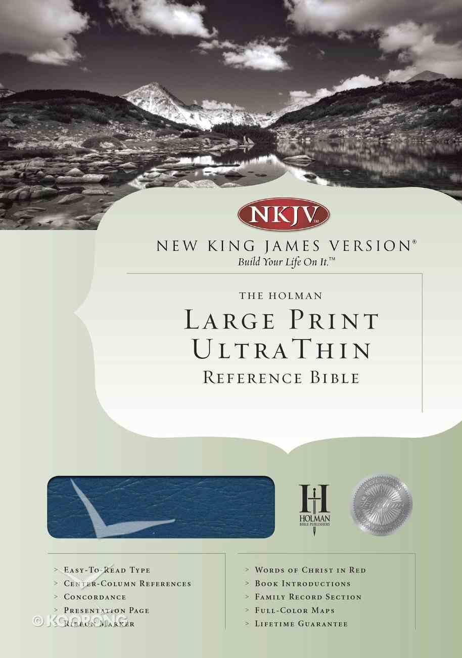 NKJV Ultrathin Large Print Reference Blue Indexed (Red Letter Edition) Bonded Leather