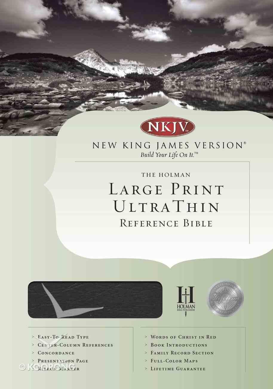 NKJV Ultrathin Large Print Reference Black (Red Letter Edition) Genuine Leather