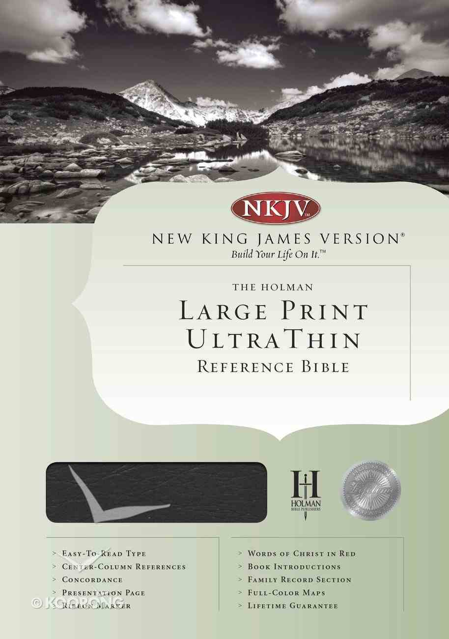 NKJV Ultrathin Large Print Reference Black Indexed (Red Letter Edition) Genuine Leather