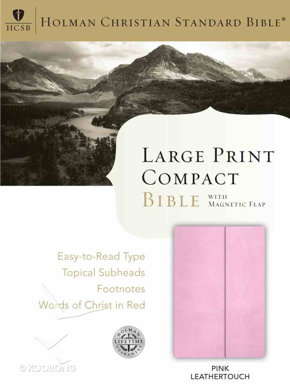 HCSB Large Print Compact Bible With Magnetic Flap Pink Leathertouch Imitation Leather