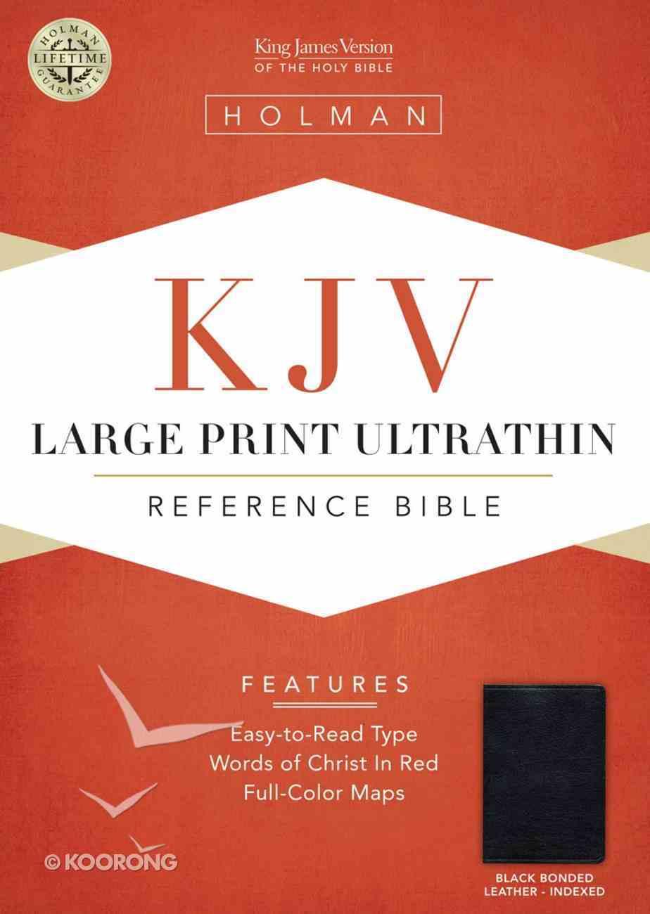 KJV Large Print Ultrathin Reference Bible Black Indexed Bonded Leather