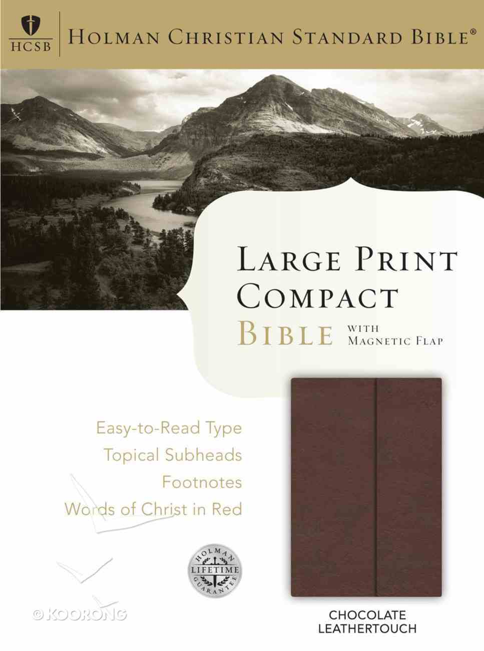 HCSB Large Print Compact Bible With Magnetic Flap Chocolate Leathertouch Imitation Leather