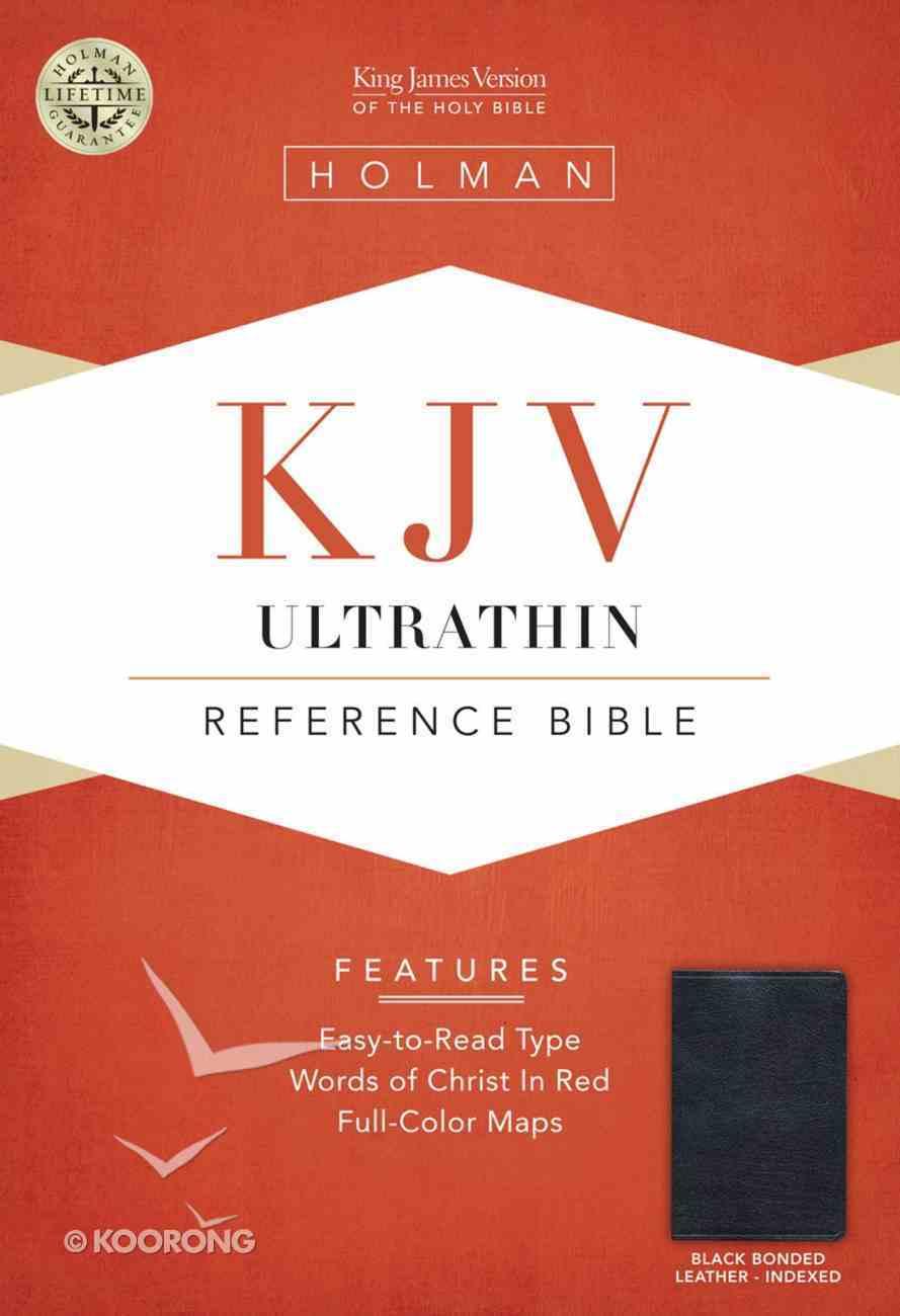 KJV Ultrathin Reference Bible Black Indexed Bonded Leather