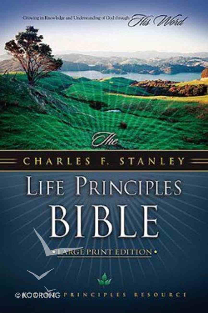 NKJV Charles F Stanley Life Principles Bible Lp Black Bonded Leather