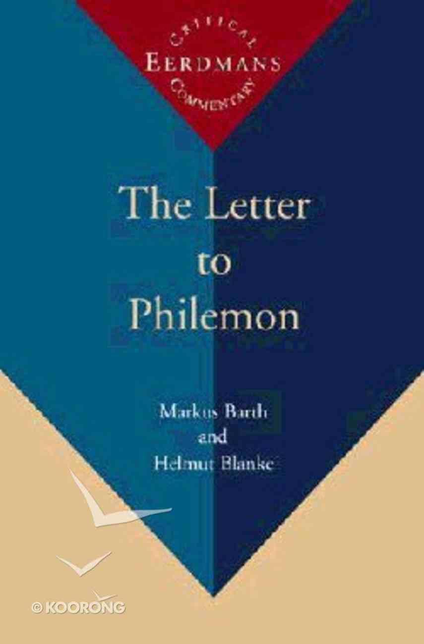 Letter to Philemon ,The (Eerdmans Critical Commentary Series) Hardback