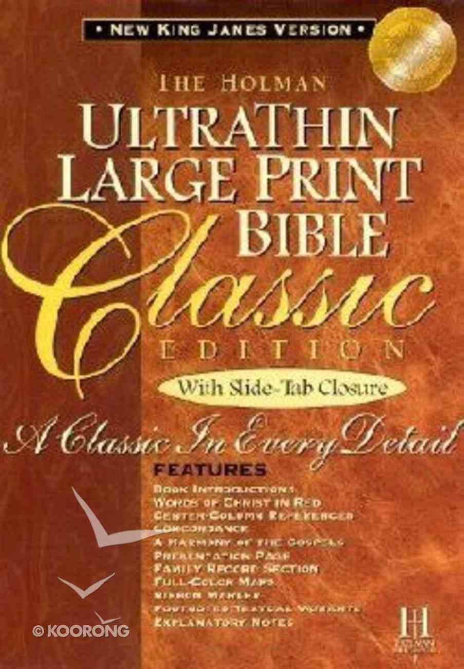NKJV Ultrathin Classic Large Print Slide Tab British Tan Bonded Leather