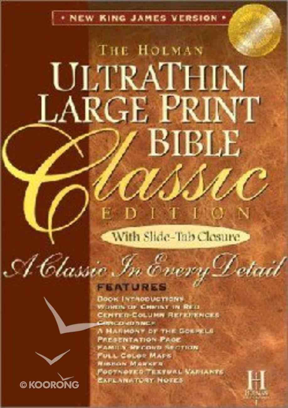 NKJV Ultrathin Classic Large Print Slide Tab Burgundy Bonded Leather