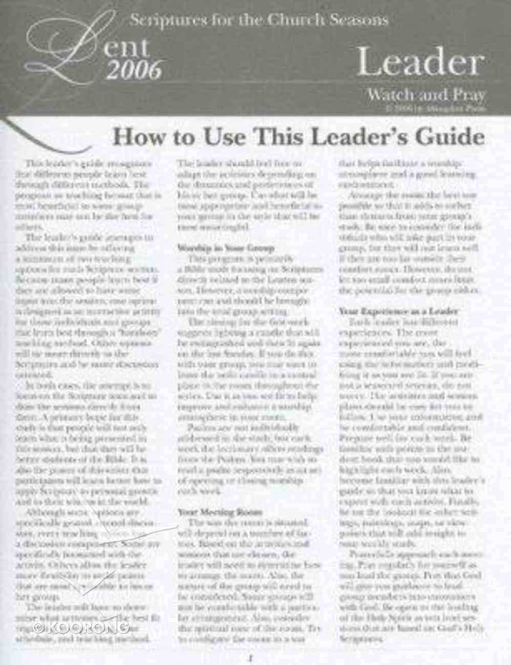 Lent 2006: Watch and Pray (Leader's Guide) Paperback