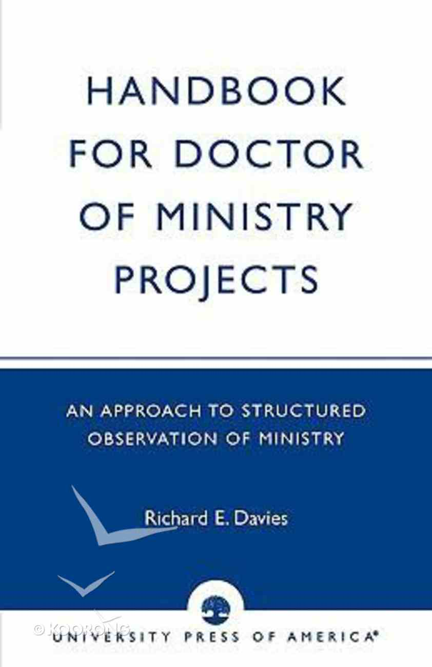 Handbook For Doctor of Ministry Projects Paperback