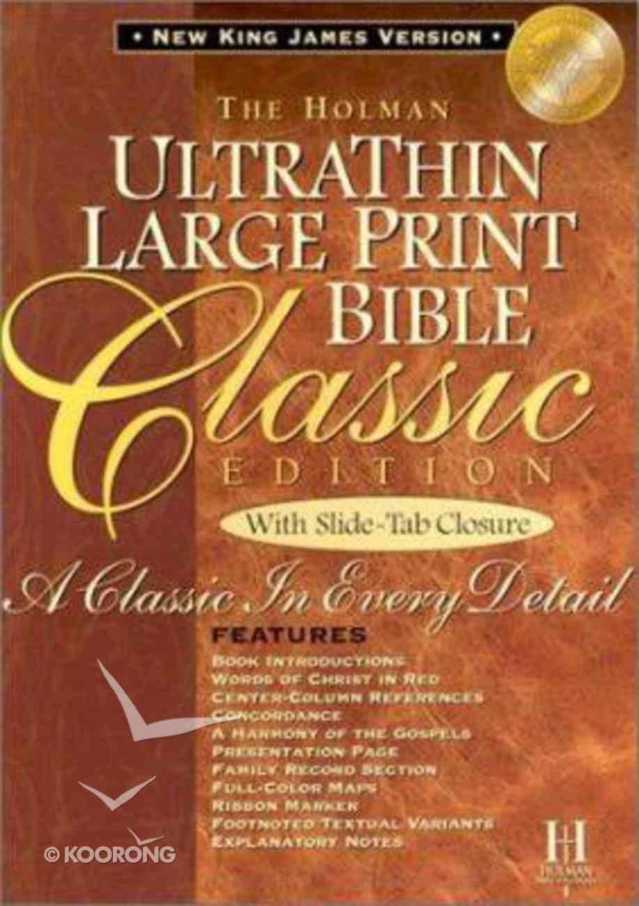 NKJV Ultrathin Classic Large Print Slide Tab British Tan Indexed Bonded Leather