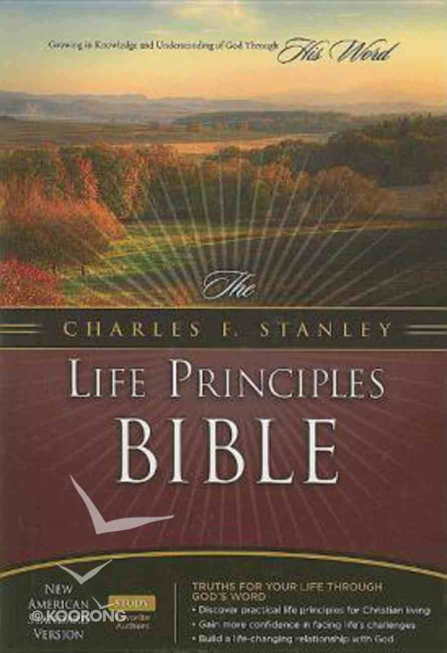 NASB Charles F. Stanley Life Principles Bible Burgundy Thumb Indexed Bonded Leather