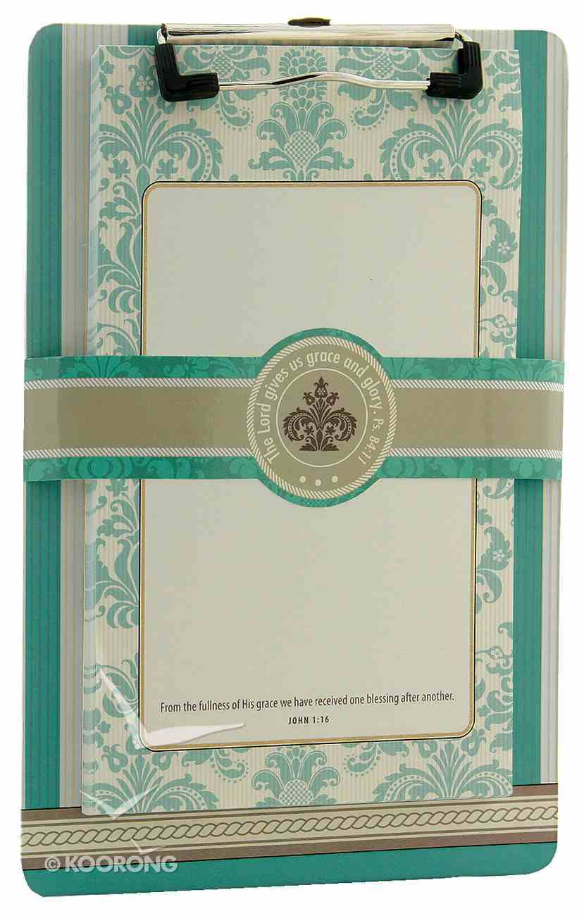 Clipboard With Notepad: From the Fullness of His Grace, 80 Sheets Stationery