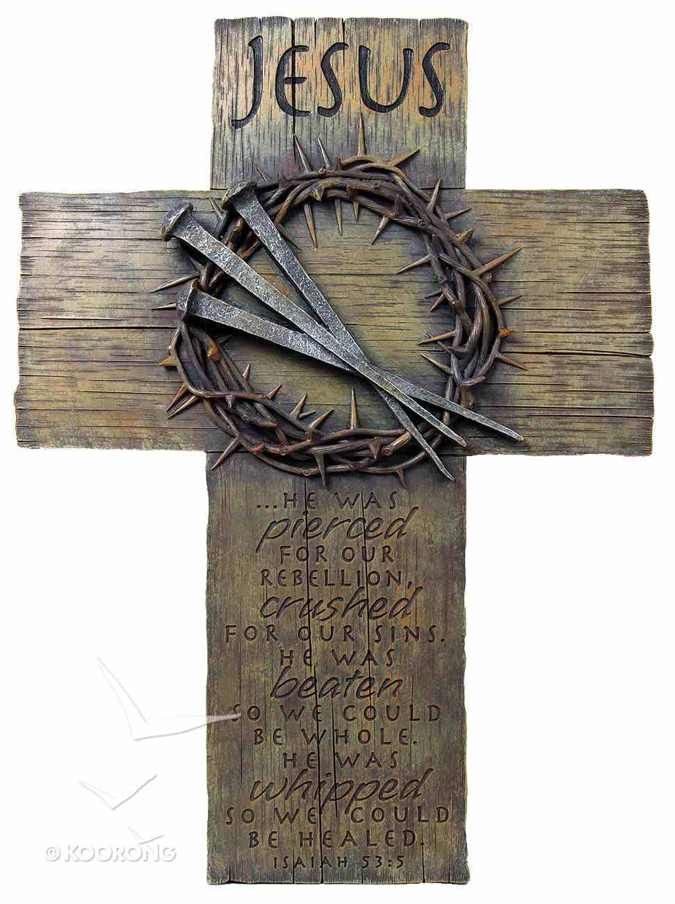 Cross Large: Jesus, Nails & Crown (Polyresin) Plaque