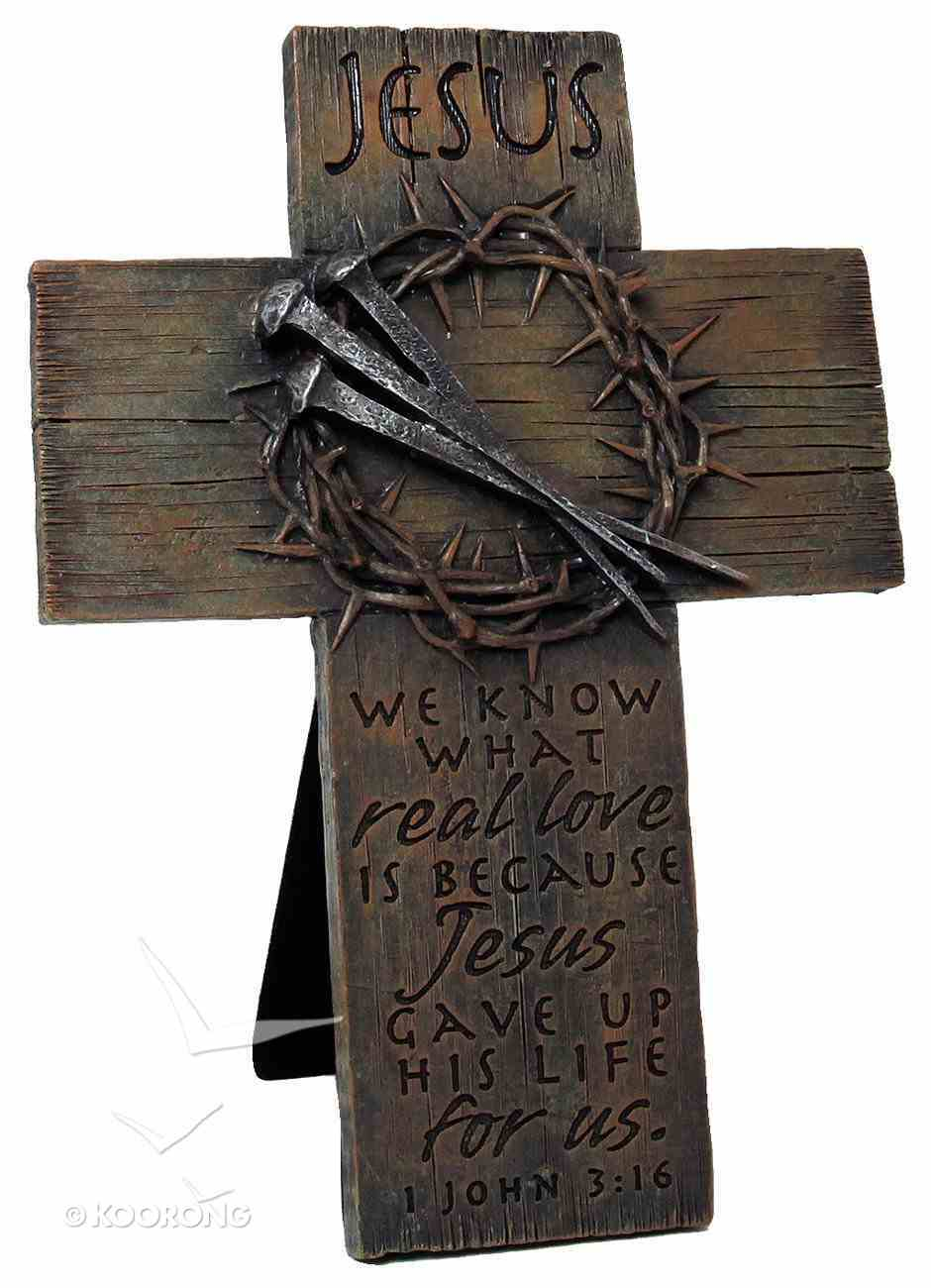 Cross Small: Jesus, Nails & Crown (Polyresin) Plaque