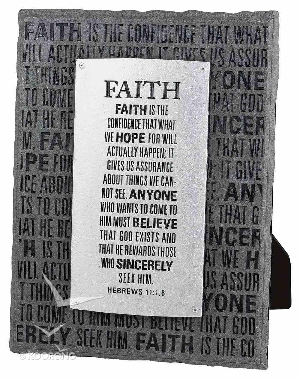 Black and Silver Layered Plaque: Faith, Hebrews 11:1,6 Plaque