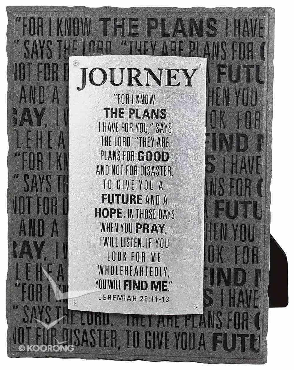 Black and Silver Layered Plaque: Journey, Jeremiah 29:11-13 Plaque