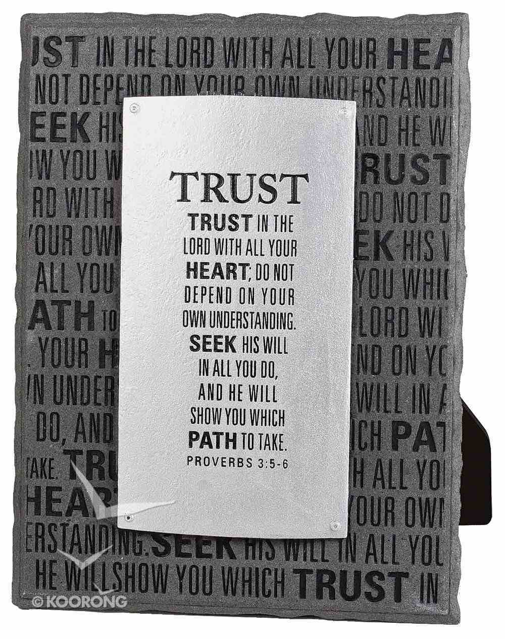 Black and Silver Layered Plaque: Trust, Proverbs 3:5-6 Plaque
