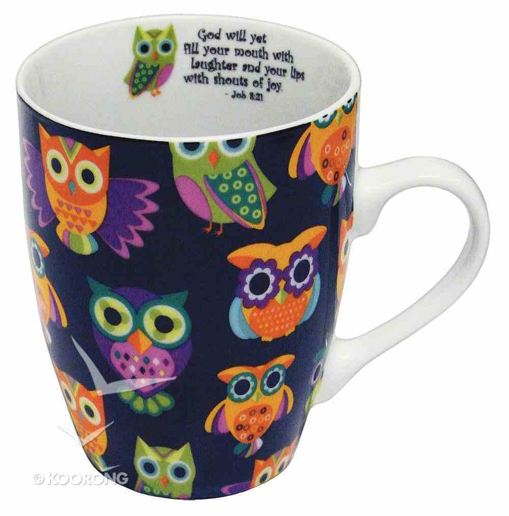 Ceramic Mug: Colourful Owls, Black Background (Job 8:21 - Inside Mug) Box