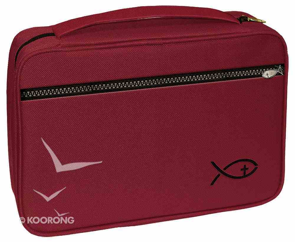 Bible Cover Deluxe With Fish Symbol: Burgundy Large Bible Cover