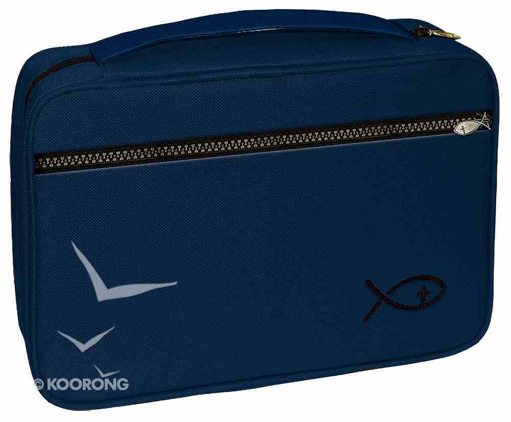 Bible Cover Deluxe With Fish Symbol: Navy Large Bible Cover
