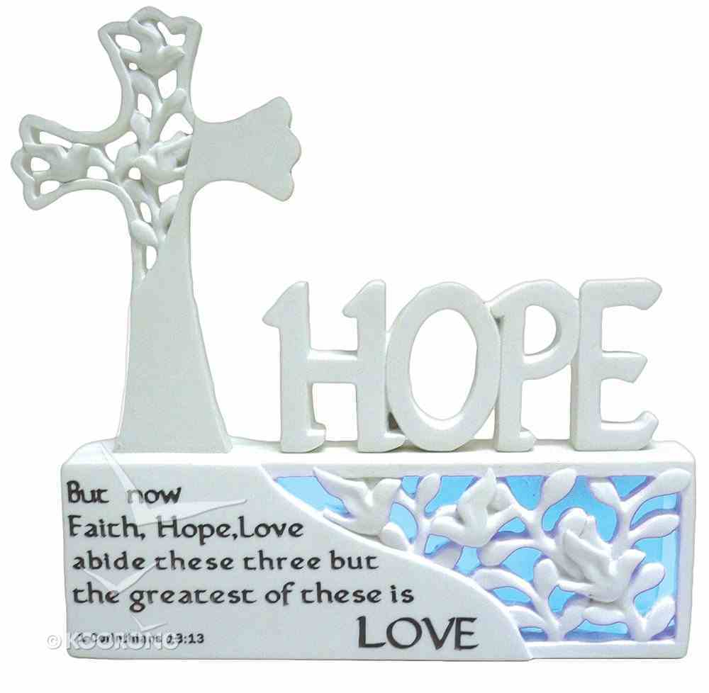Cross/Hope Ornament With Led Light (Batteries Included) Homeware
