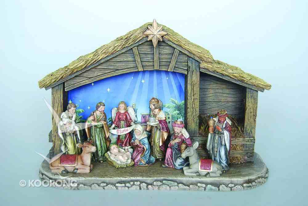 Nativity Set 11 Pieces Tallest Piece 7.6cm With Stable Homeware
